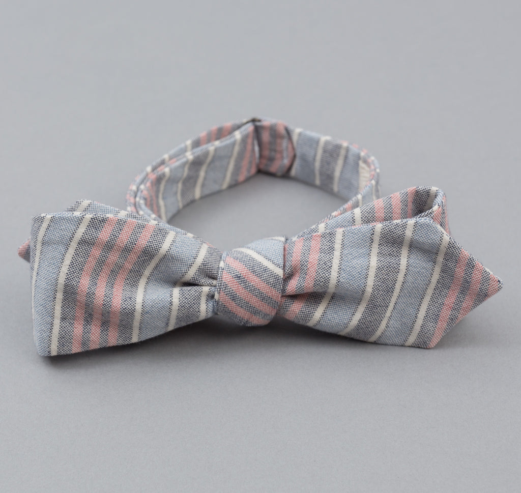 The Hill-Side - TH-S Mills Natural Warp Border Stripe Bow Tie, Antique Japanese Pattern - BT1-354