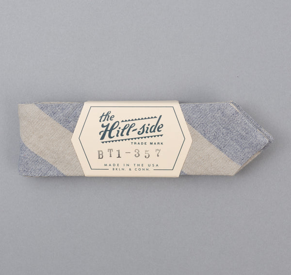 The Hill-Side - TH-S Mills Natural Warp Border Stripe Bow Tie, Navy / Khaki Awning - BT1-357