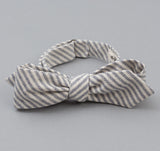 The Hill-Side - TH-S Mills Natural Warp Border Stripe Bow Tie, Navy / Natural Hickory - BT1-355
