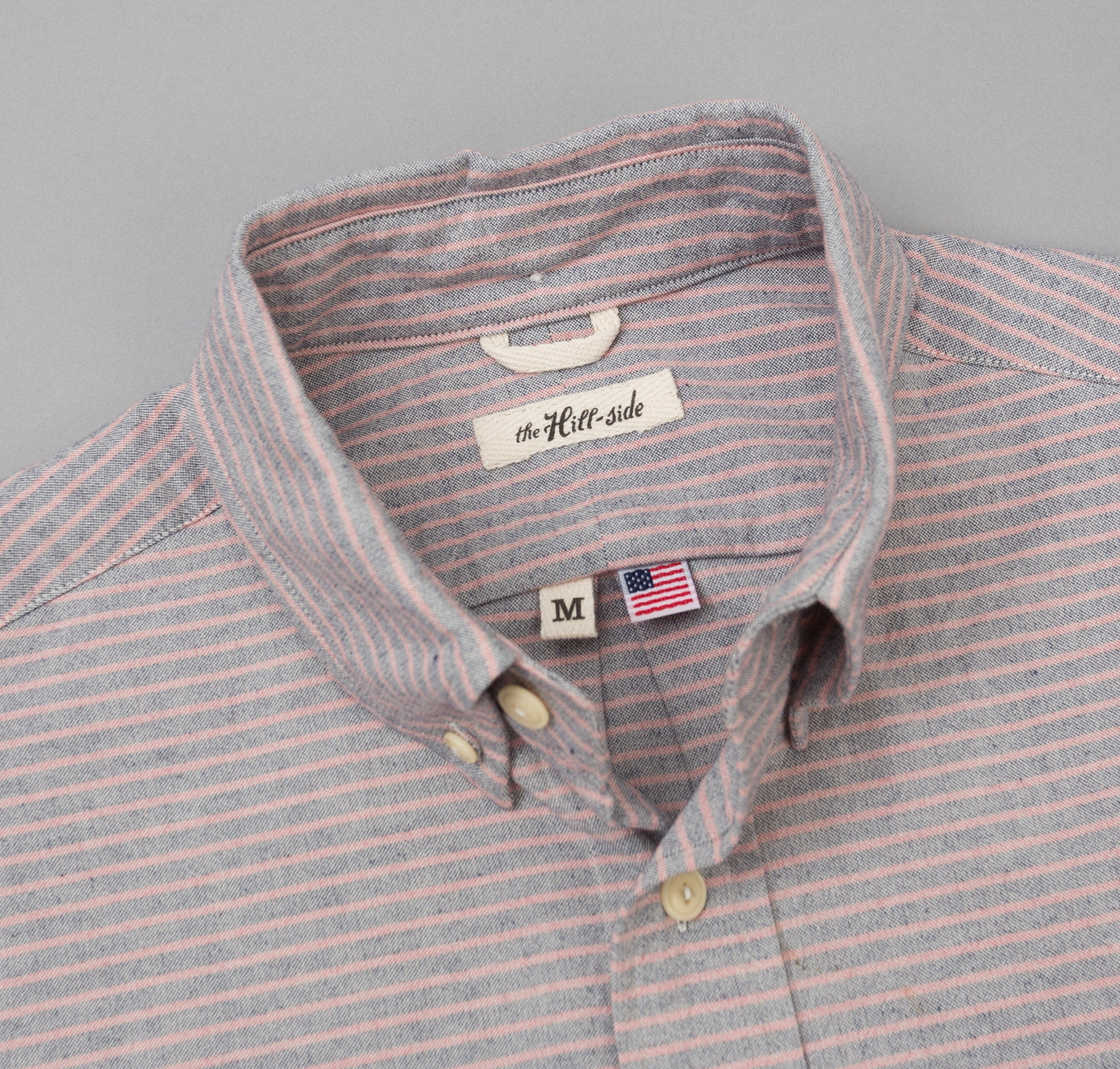 The Hill-Side - TH-S Mills Natural Warp Border Stripe Long Sleeve Standard Shirt, Navy / Coral Pencil - SH1-353