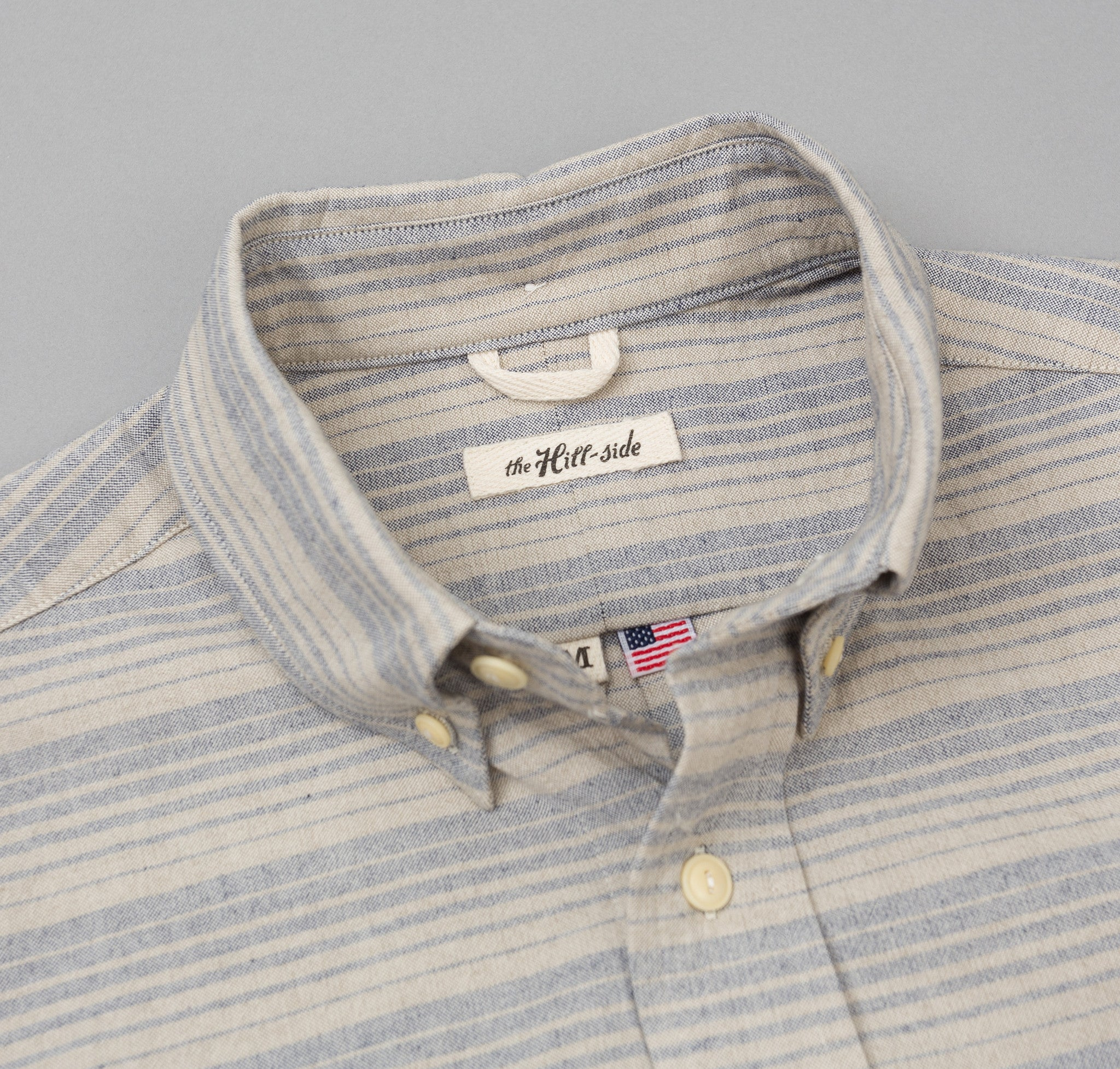 The Hill-Side TH-S Mills Natural Warp Border Stripe Long Sleeve Standard Shirt, Navy / Tan Waterfall