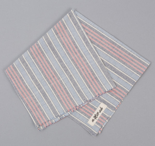 The Hill-Side - TH-S Mills Natural Warp Border Stripe Pocket Square, Antique Japanese Pattern - PS1-354