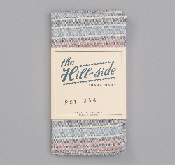 The Hill-Side TH-S Mills Natural Warp Pocket Square, Antique Japanese Stripe