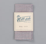 The Hill-Side - TH-S Mills Natural Warp Border Stripe Pocket Square, Navy / Coral Pencil - PS1-353