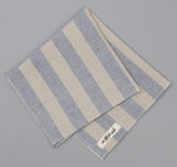 The Hill-Side - TH-S Mills Natural Warp Border Stripe Pocket Square, Navy / Khaki Awning - PS1-357