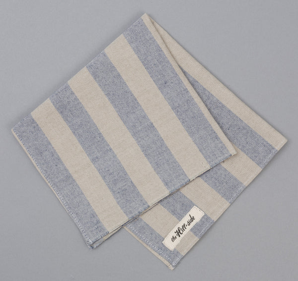 The Hill-Side TH-S Mills Natural Warp Pocket Square, Border Stripe