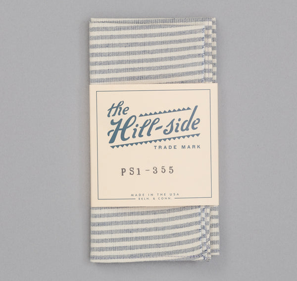 The Hill-Side - TH-S Mills Natural Warp Border Stripe Pocket Square, Navy / Natural Hickory - PS1-355