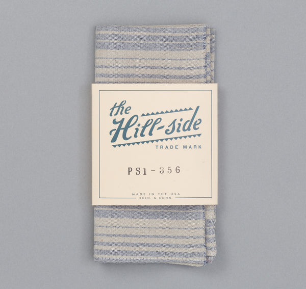 The Hill-Side - TH-S Mills Natural Warp Border Stripe Pocket Square, Navy / Tan Waterfall - PS1-356