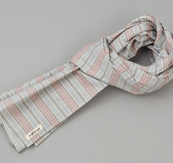 The Hill-Side - TH-S Mills Natural Warp Border Stripe Scarf, Antique Japanese Pattern - SC1-354
