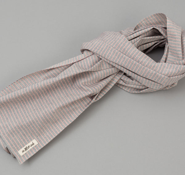 The Hill-Side - TH-S Mills Natural Warp Border Stripe Scarf, Navy / Coral Pencil - SC1-353