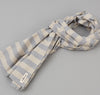 The Hill-Side - TH-S Mills Natural Warp Border Stripe Scarf, Navy / Khaki Awning - SC1-357