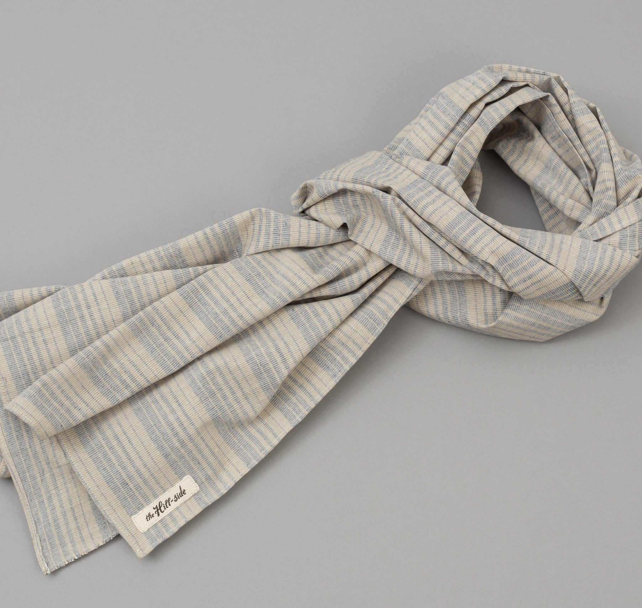 The Hill-Side - TH-S Mills Natural Warp Border Stripe Scarf, Navy / Tan Waterfall - SC1-356