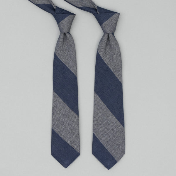 The Hill-Side - TH-S Mills Necktie, Navy Warp Giant Border Stripe, Covert Beige & Slate Blue - PT1-367