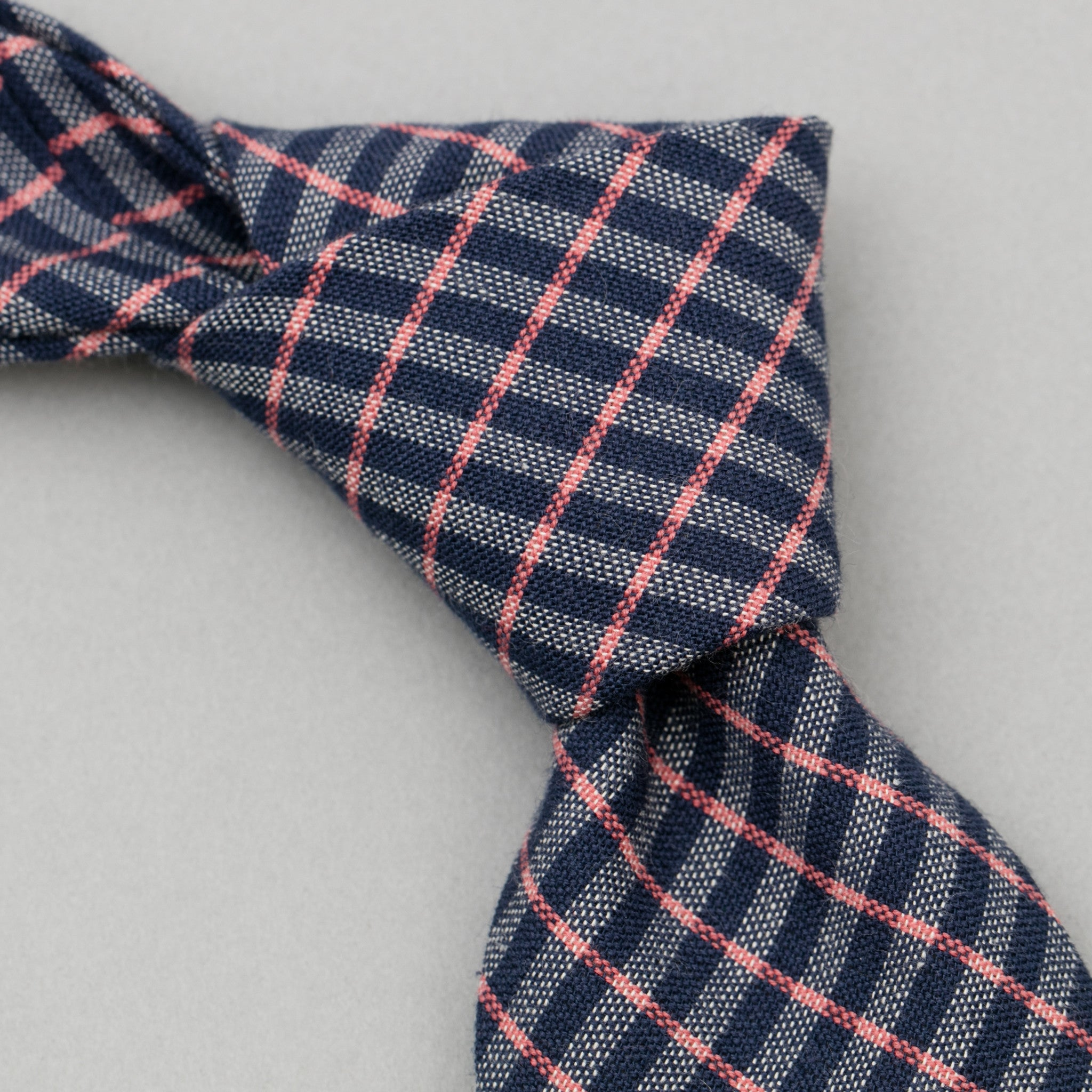 The Hill-Side - TH-S Mills Necktie, Navy Warp Grid Check, Natural & Coral - PT1-370