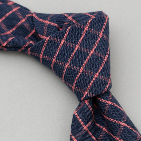 The Hill-Side - TH-S Mills Necktie, Navy Warp Windowpane Check, Coral - PT1-369