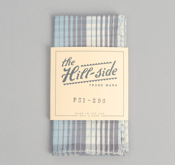 The Hill-Side - TH-S Mills Selvedge Waterfall Plaid Chambray Pocket Square, Light Indigo / Grey - PS1-296