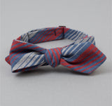 The Hill-Side - TH-S Mills Selvedge Waterfall Stripe Chambray Bow Tie, Red / Dark Indigo - BT1-295
