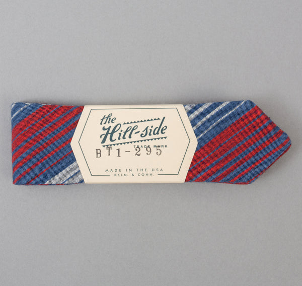 The Hill-Side TH-S Mills Selvedge Waterfall Stripe Chambray Bow Tie, Red / Dark Indigo