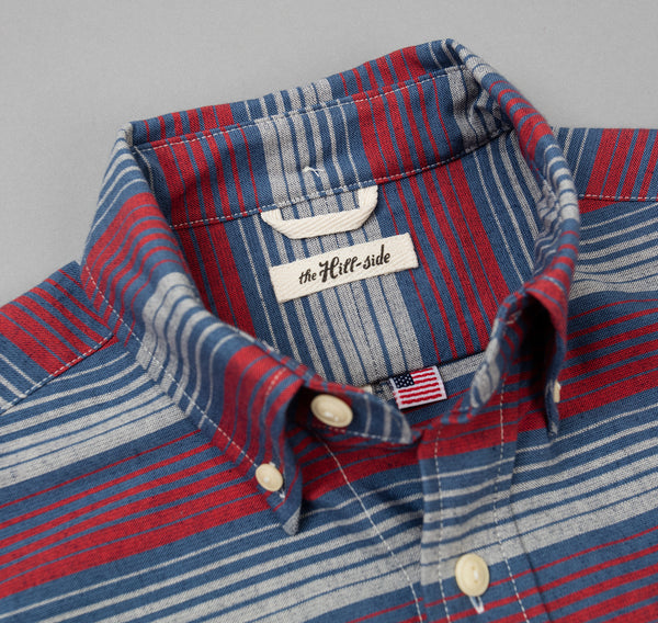 The Hill-Side - TH-S Mills Selvedge Waterfall Stripe Chambray Button-Down Shirt, Red / Dark Indigo - SH1-295
