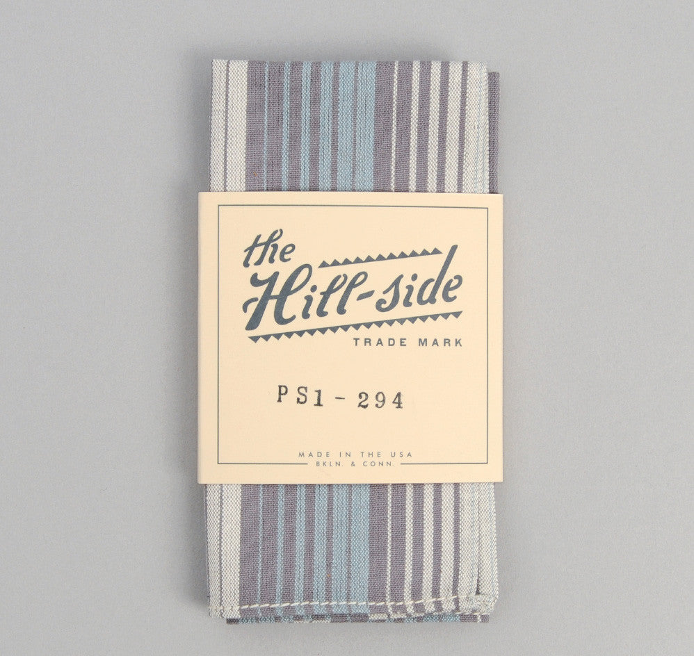The Hill-Side - TH-S Mills Selvedge Waterfall Stripe Chambray Pocket Square, Light Indigo / Grey - PS1-294
