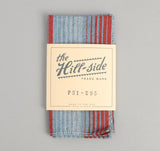 The Hill-Side - TH-S Mills Selvedge Waterfall Stripe Chambray Pocket Square, Red / Dark Indigo - PS1-295