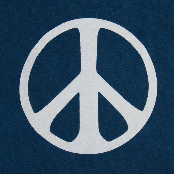 The Hill-Side - T-Shirt, Peace Sign, Japanese Indigo Bassen Print - TS1-1109