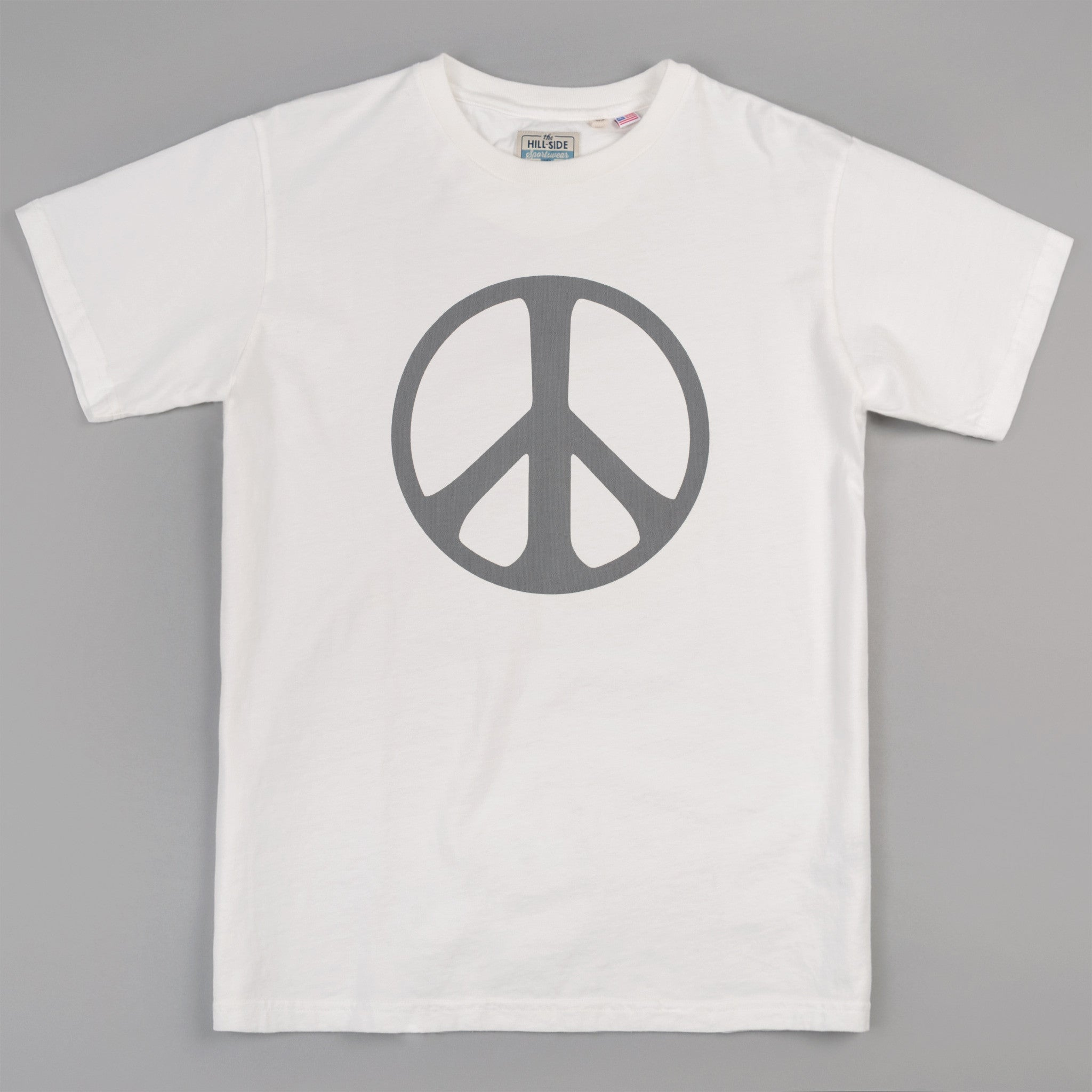 The Hill-Side - T-Shirt, Peace Sign, Natural White w/ 3M Reflective Print - TS1-1101