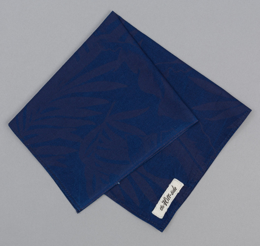 The Hill-Side Tropical Leaves Indigo Discharge Print Pocket Square