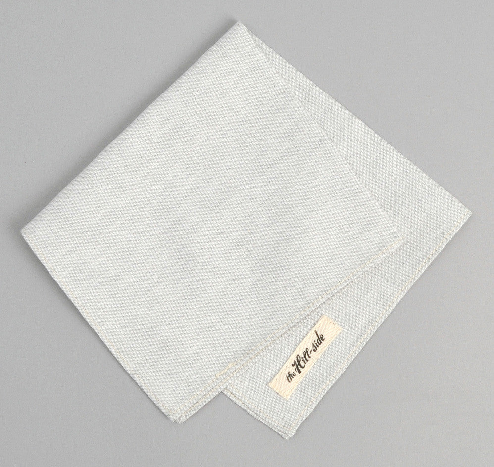 The Hill-Side - Variegated Warp Oxford Pocket Square, Light Grey - PS1-250