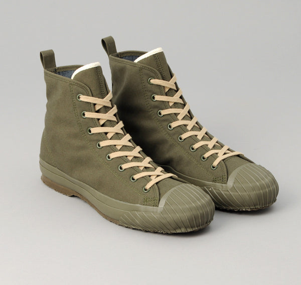 The Hill-Side - Ventile All-Weather High Top Sneakers, Olive Drab - SN6-316