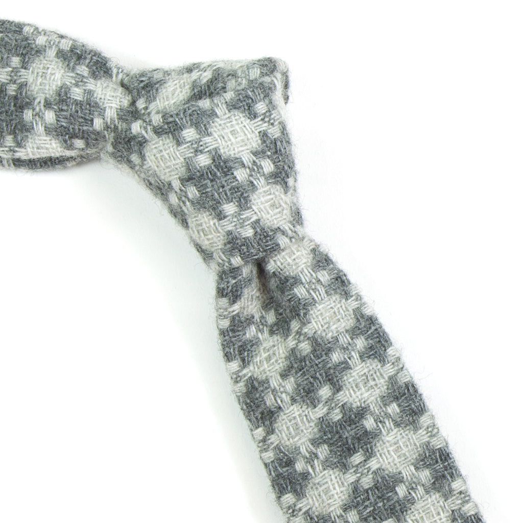 The Hill-Side - W55-003 - Limited Edition Vintage Tweed Necktie, Grey Crosses