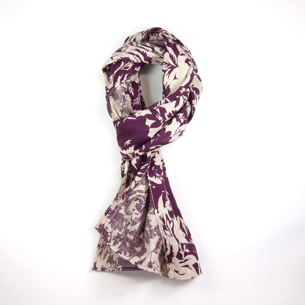 The Hill-Side - N52-132 - Washed Linen Floral Print Small Scarf, Burgundy