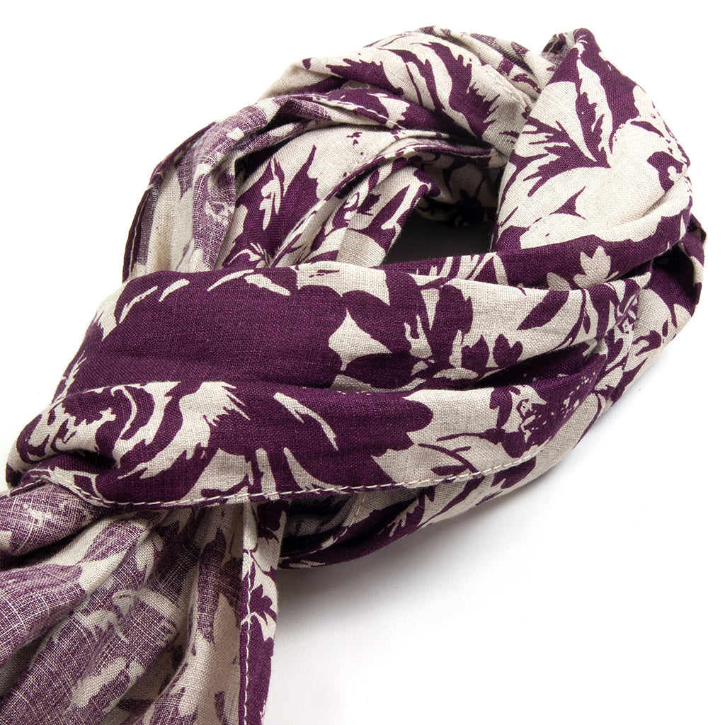 Washed Linen Floral Print Small Scarf, Burgundy