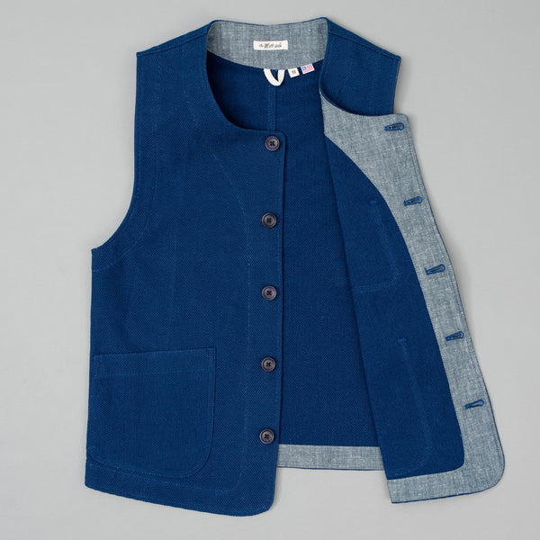 The Hill-Side - Weekend Vest, Selvedge Lightweight Indigo Sashiko - VE1-244