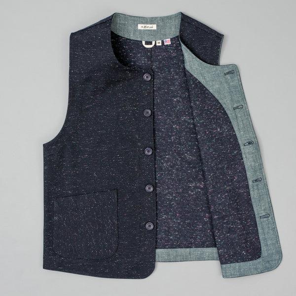 "The Hill-Side - Weekend Vest, Wool Blend ""Galaxy"" Tweed, Navy - VE1-385"
