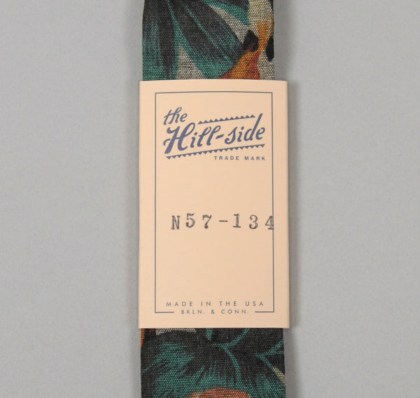 "The Hill-Side ""Winter Aloha"" Printed Indigo Chambray Tie"