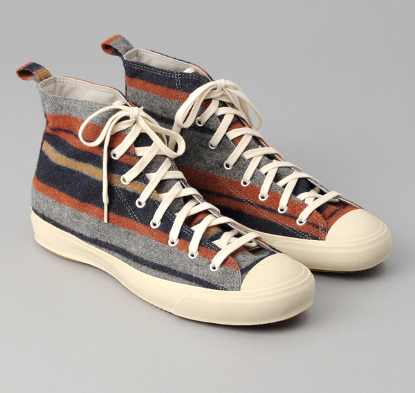 The Hill-Side - Wool Blend Blanket Stripe High Top Sneakers,  Grey / Navy / Rust - SN4-203