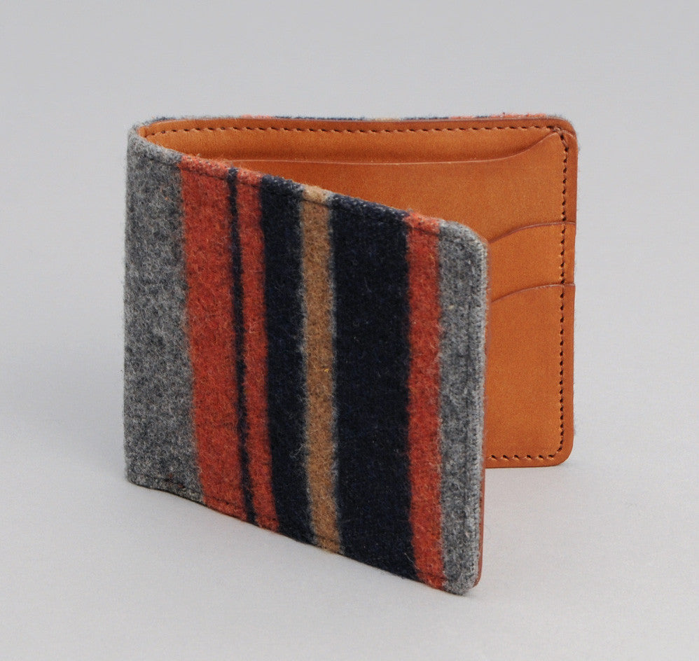 The Hill-Side - Wool Blend Blanket Stripe Wallet, Grey / Navy / Rust - WA1-203