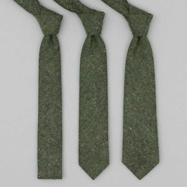 "The Hill-Side - Standard Pointed Tie, Wool Blend ""Galaxy"" Tweed, Olive - PT1-387"