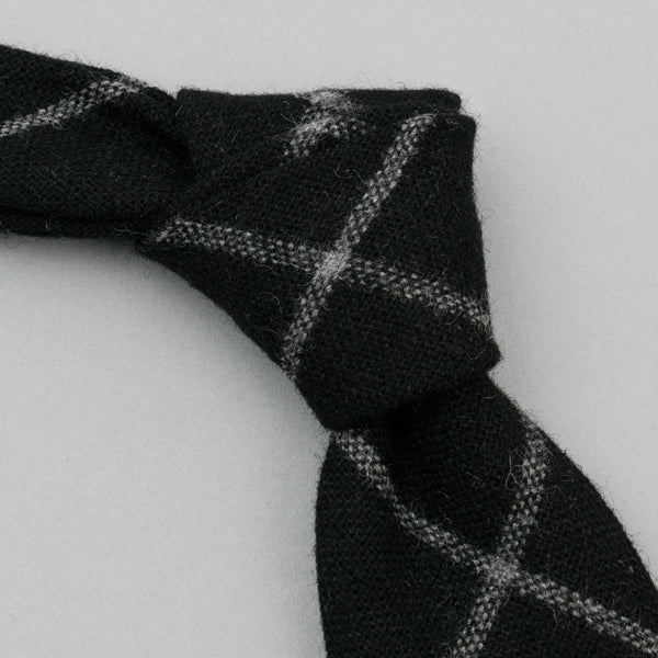 The Hill-Side - Wool Blend Windowpane Check Necktie, Black & Grey - PT1-384