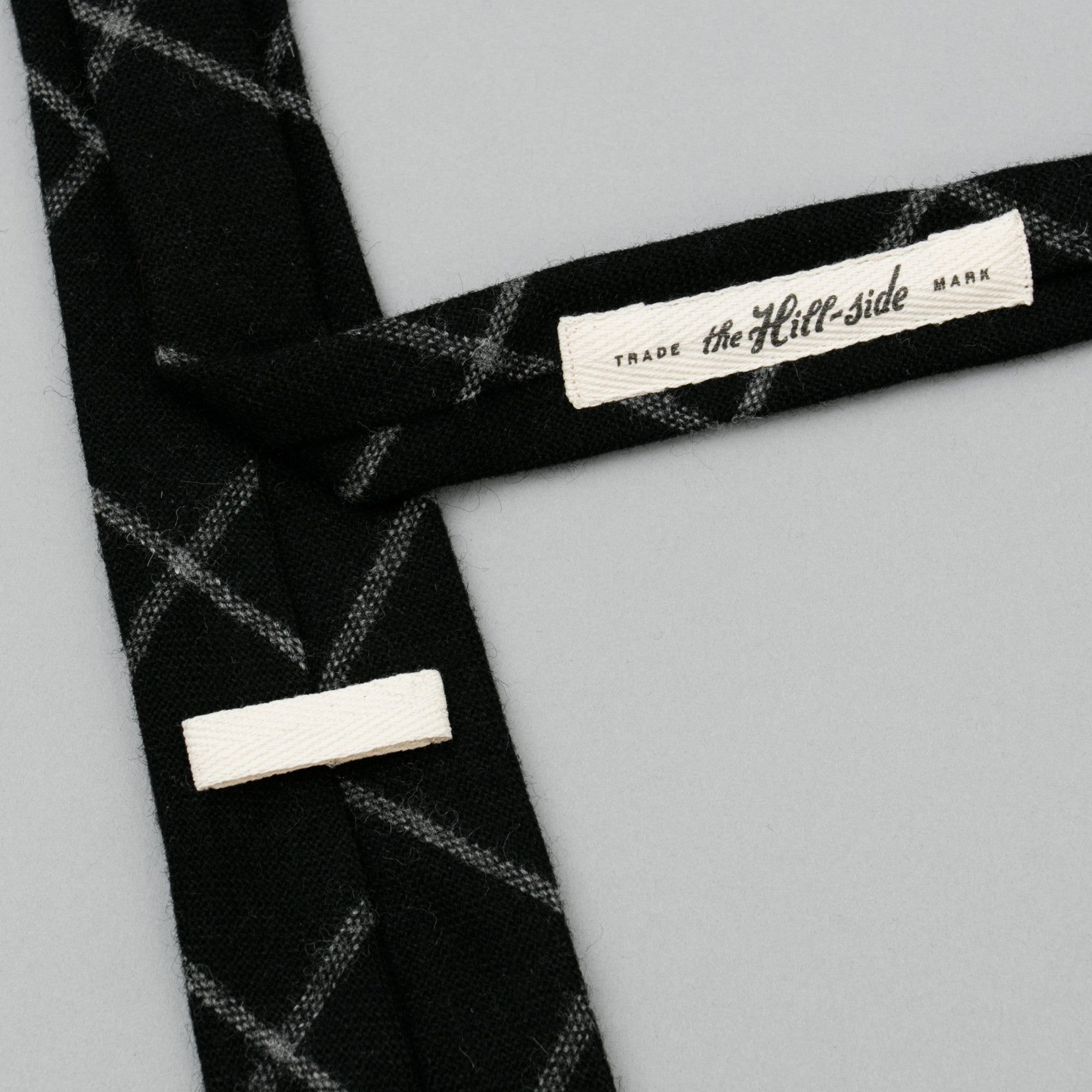 Wool Blend Windowpane Check Necktie, Black & Grey