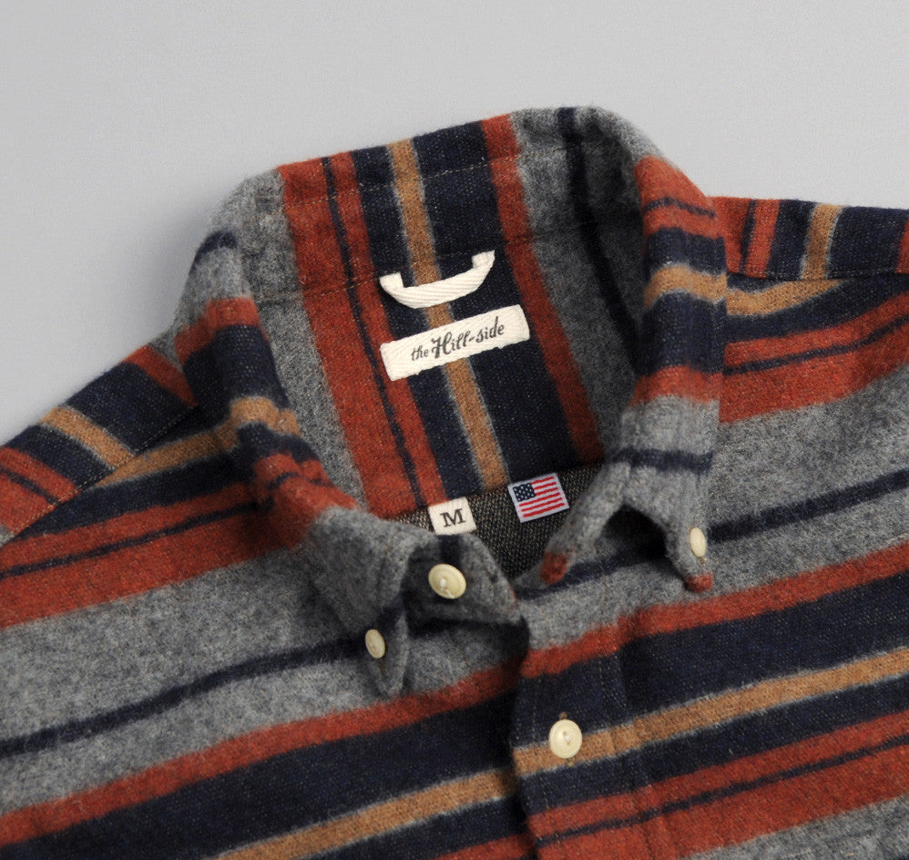 The Hill-Side - Wool/Cotton Blanket Stripe Button-Down Shirt, grey/navy/rust - SH1-203
