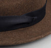 The Hill-Side - Wool Felt Hat, Brown w/ Indigo Panama Cloth Band - HA1-240