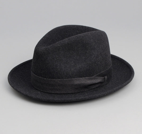 The Hill-Side - Wool Felt Hat, Charcoal w/ Black Covert Hickory Stripe Band - HA1-317
