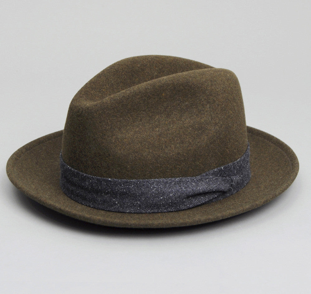 The Hill-Side Felt Hat, Loden Green w/ Navy Tweed Band
