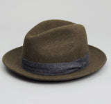 The Hill-Side - Wool Felt Hat, Loden Green w/ Navy Cotton Herringbone Tweed Band - HA1-239