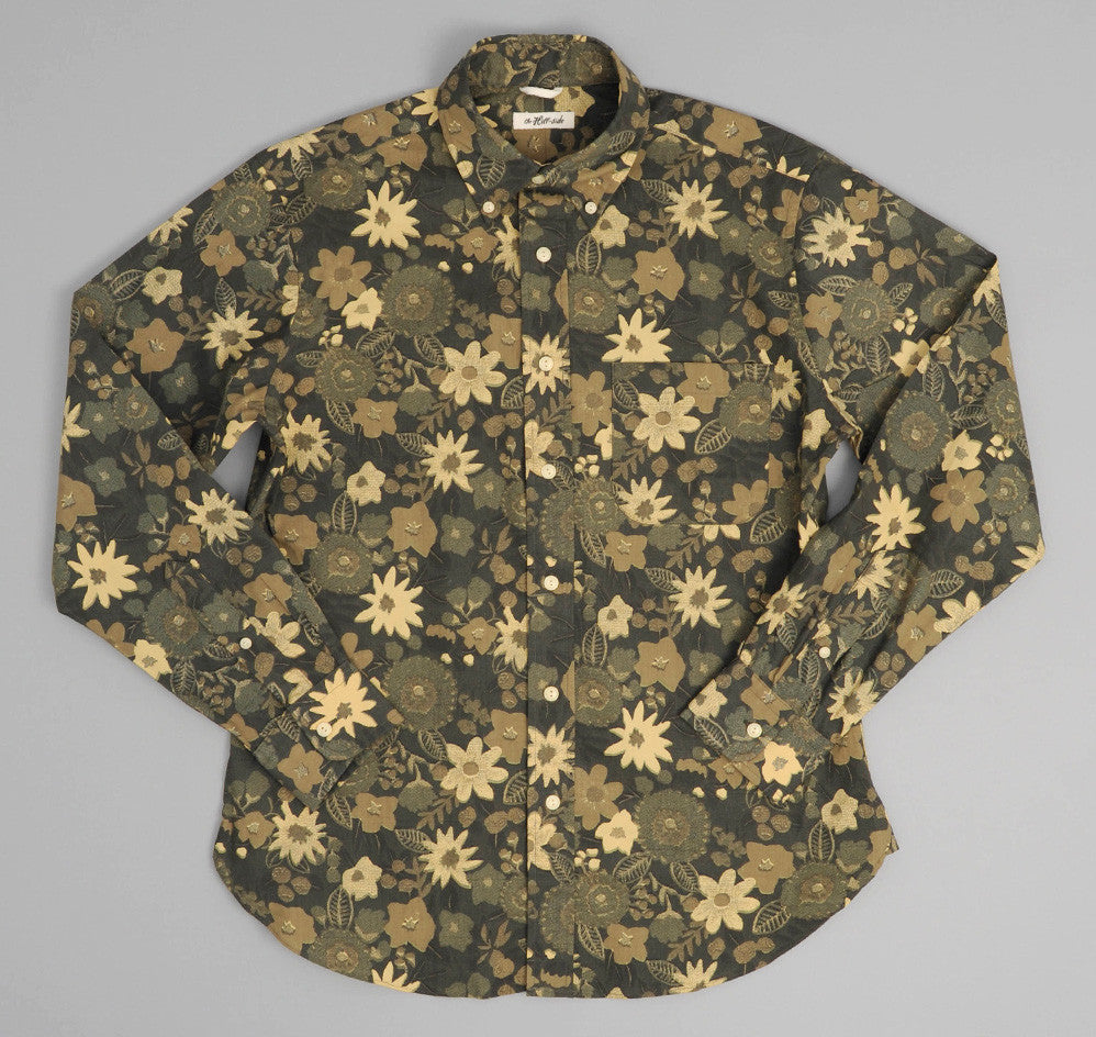 The Hill-Side - Xerox Floral Print Button-Down Shirt, Camo - SH1-213