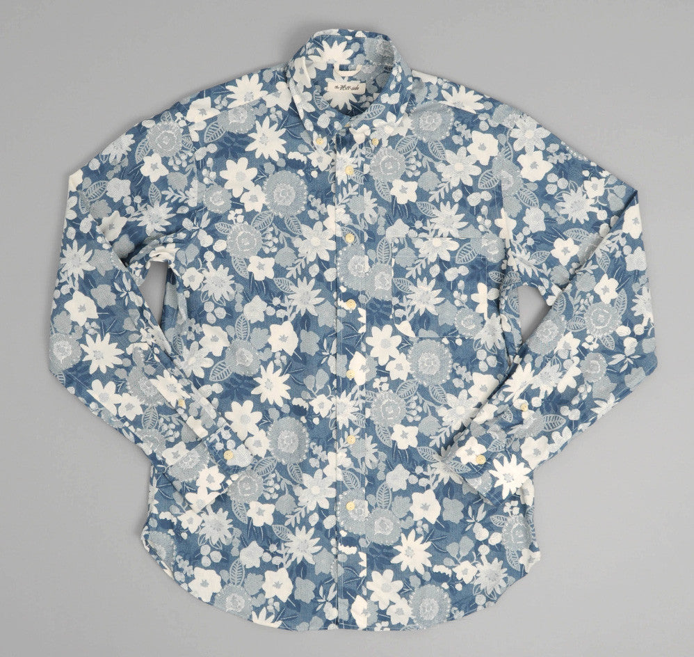 The Hill-Side - Xerox Floral Print Button-Down Shirt, Navy - SH1-212