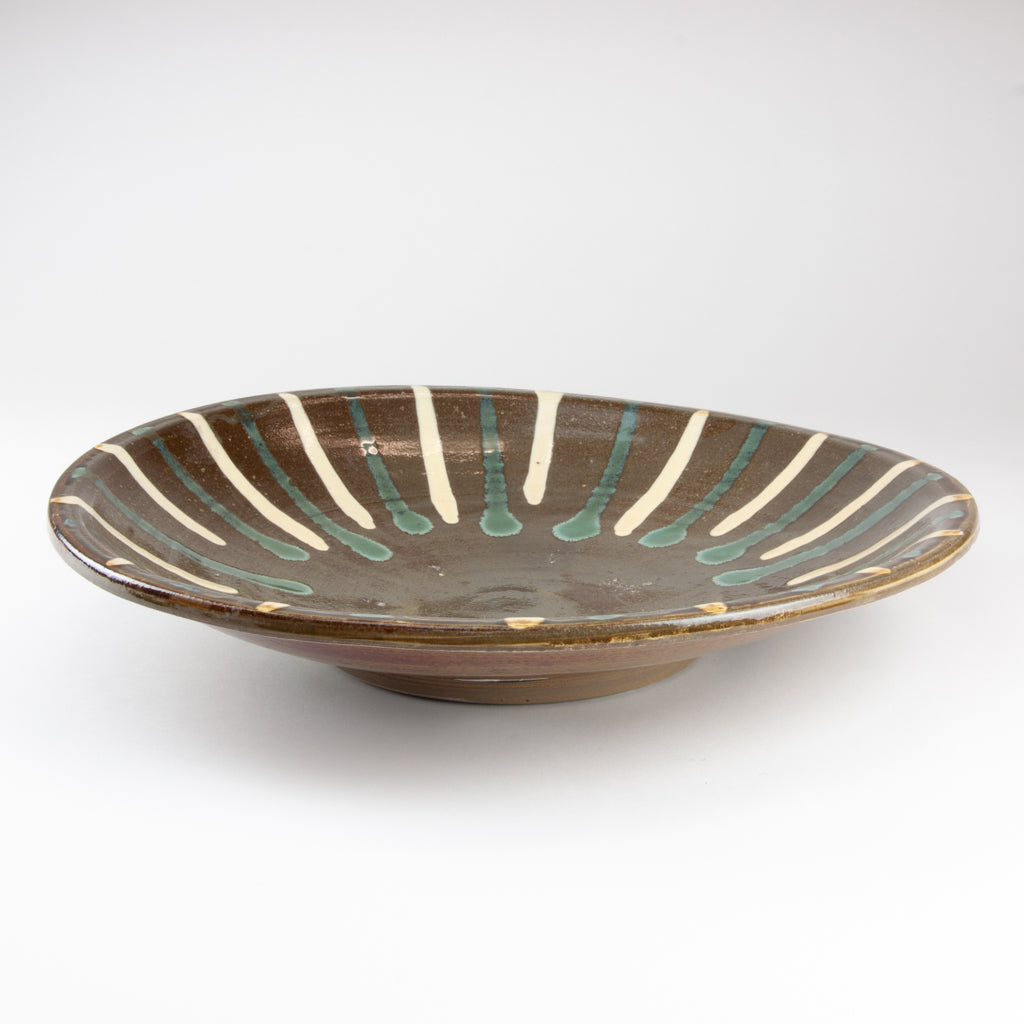 Onta-yaki Large Platter, Turquoise / Cream Stripes