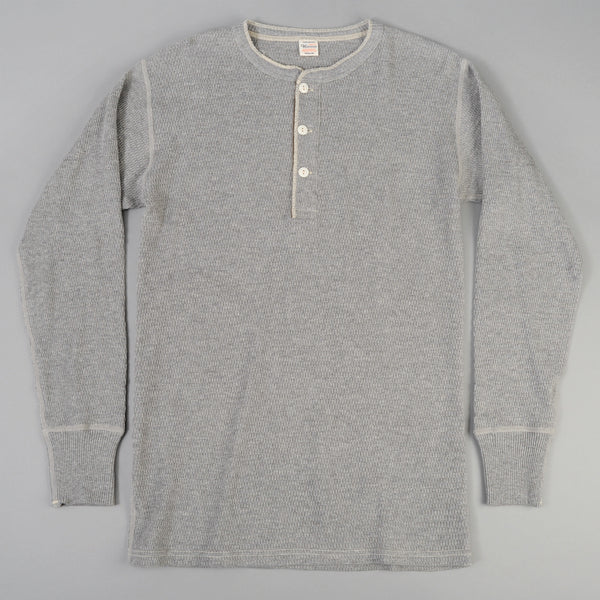 Warehouse - Henley Neck Waffle Thermal Shirt, Heather Grey -